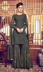 Black Georgette Party Wear Anarkali Suit With Black Dupatta
