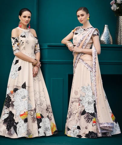 Peach Printed Silk Party Wear Lehenga With Peach Choli