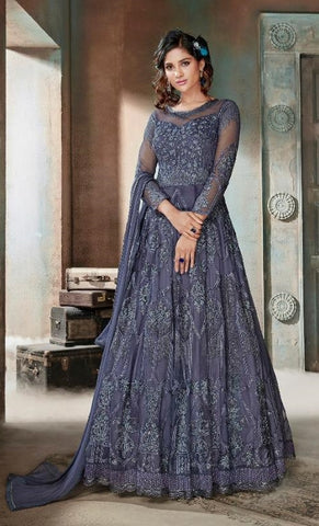 Grey Net Party Wear Anarkali With Grey Dupatta