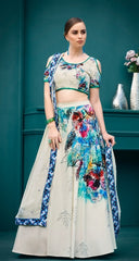 White Printed Silk Party Wear Lehenga With White Choli