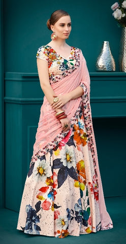 Pink Printed Silk Party Wear Lehenga With Pink Choli