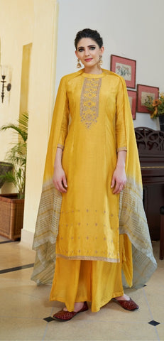 Yellow Cotton Silk Partywear Suit With  Dupatta