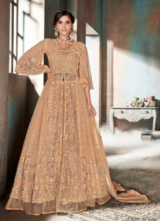 Peach Net Party Wear Anarkali Suit With Peach Dupatta