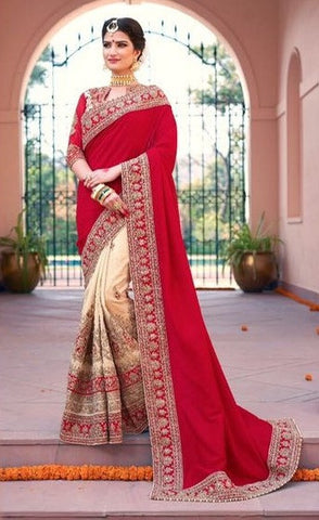 Beige Red Georgette Party Wear Saree With Duaptta