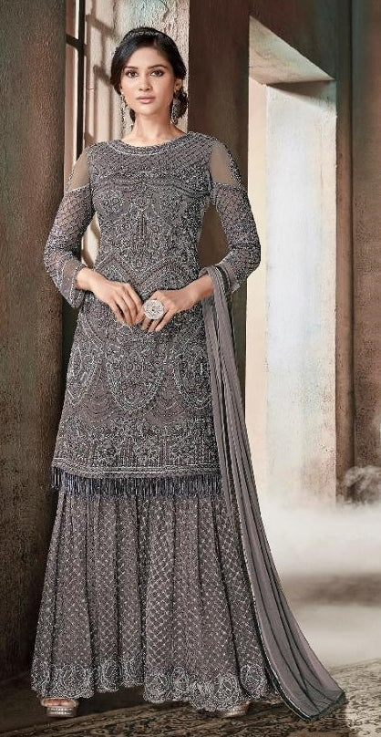 e98d2d3d2110 Grey Net Party Wear Anarkali Suit With Peach Dupatta