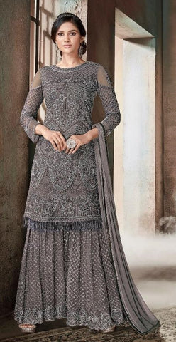 Grey Net Party Wear Anarkali Suit With Peach Dupatta