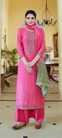 Pink Cotton Silk Partywear Salwar Kameez With  Dupatta