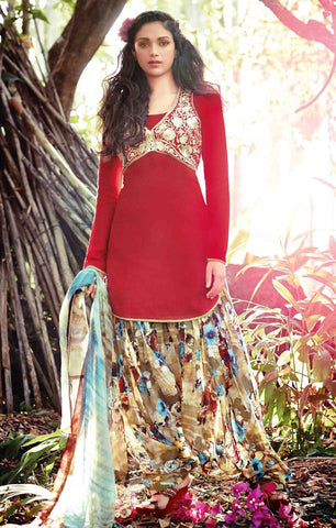 Patiyala suits Red  ,cotton jaquard