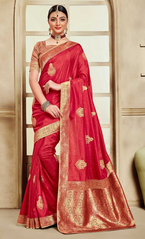 Red Poly Silk Party Wear Saree With Red Blouse