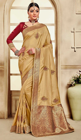 Gold Poly Silk Party Wear Saree With Maroon Blouse