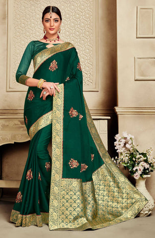 Green Poly Silk Party Wear Saree With Green Blouse