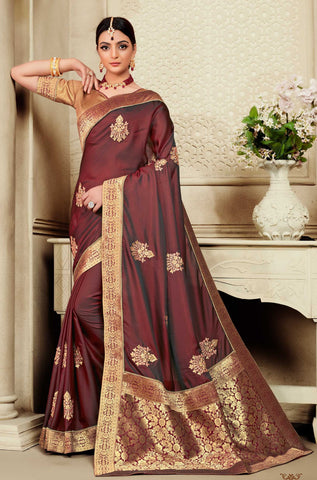 Maroon Poly Silk Party Wear Saree With Gold Blouse