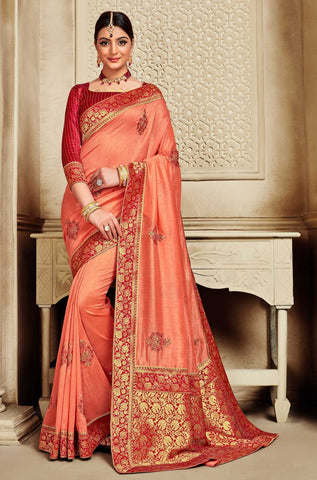 Orange Poly Silk Party Wear Saree With Red Blouse