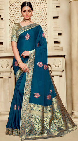 Blue Poly Silk Party Wear Saree With Gold Blouse