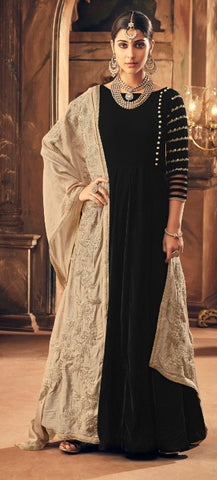 Black Velvet Straight  Suit With  Dupatta