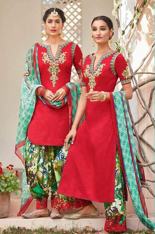 Red , Green,Cotton satin,Patiyala designer partywear suits