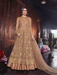 Golden Beige Net Party Wear Anarkali Dress With Beige Brown Dupatta