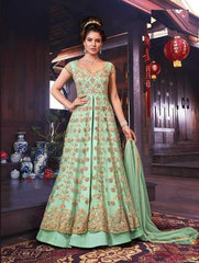 Green Net Party Wear Anarkali With Green Dupatta