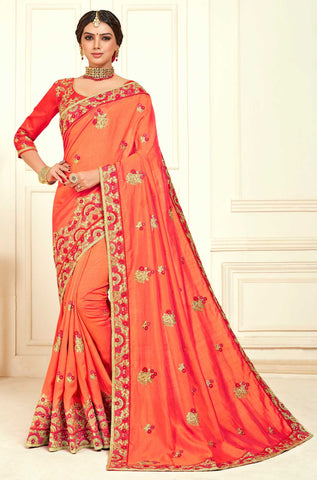 Peach Poly Silk Party Wear Saree With Red Blouse