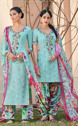 Blue,Cotton satin,Patiyala designer partywear suits