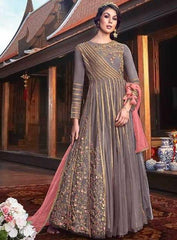Grey Net Party Wear Anarkali Suit With Pink Dupatta