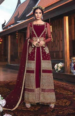 Maroon Net Party Wear Anarkali Suit With Maroon Dupatta