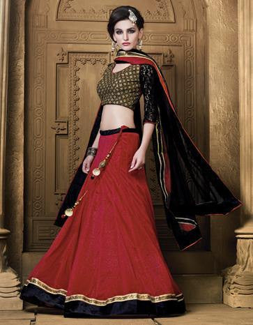 Red , Black,Jacquard,Designer party wear lehenga with heavy work