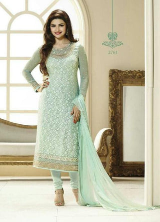 Cyan designer straight knee length long salwar suits with embroidered border