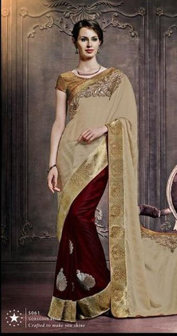 Shop Designer Beige and maroon half chiffon and half satin saree with gota and patch work