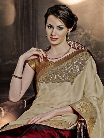 Designer Maroon and beige half half saree for women