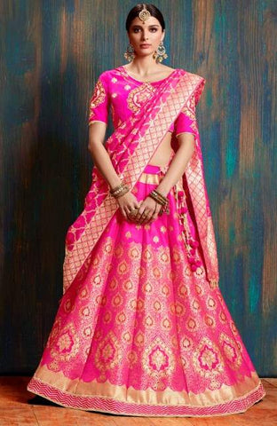 Pink Silk Wedding Wear Lehenga With Pink Dupatta