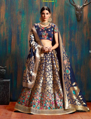 Blue Silk Wedding Wear Lehenga With Blue Dupatta