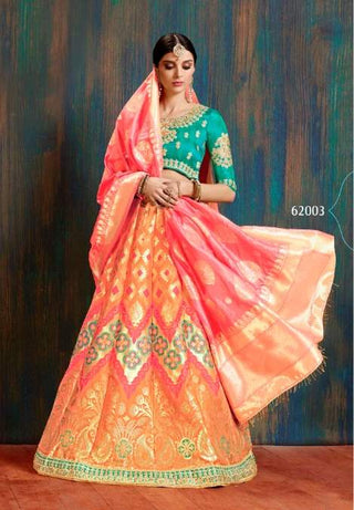 Orange Silk Wedding Wear Lehenga With Orange Dupatta