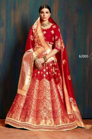 Red Silk Wedding Wear Lehenga With Red Dupatta