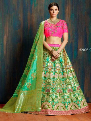 Green Silk Wedding Wear Lehenga With Green Dupatta