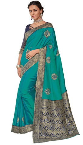 Teal Poly Silk Party Wear Saree With Blouse
