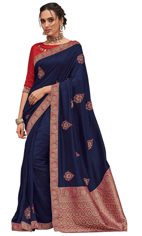 Navy Blue Poly Silk Party Wear Saree With Blouse