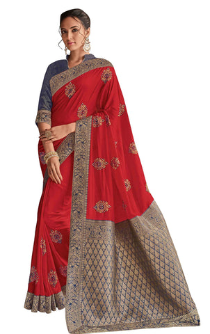 Red Poly Silk Party Wear Saree With Blouse
