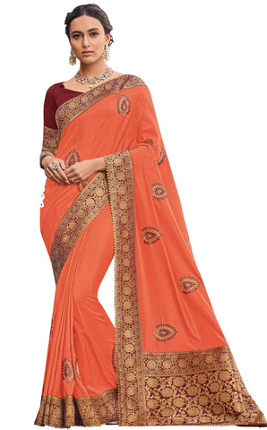 Orange Poly Silk Party Wear Saree With Blouse
