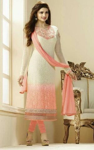 Pink and white embroidered straight knee length long salwar suits