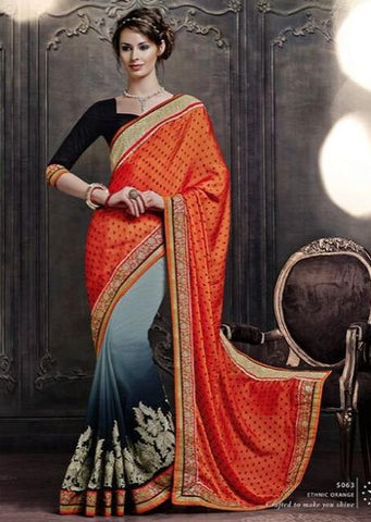 Designer Orange, grey and black chiffon and gerogette half half saree with zari emboridery