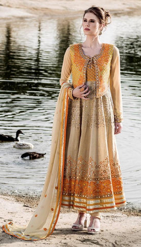 Beige & Yellow,Poly viscose,Designer anarkali heavy suits heavy work embroidery