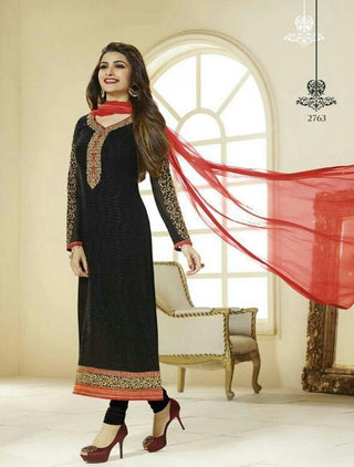 Black and red straight knee length long embroidered salwar suits