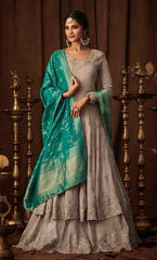 Grey Georgette Party Wear  Anarkali Dress With Aqua Dupatta