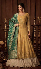 Yellow Georgette Party Wear  Anarkali Suit With Green Dupatta