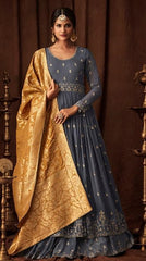 Grey Georgette Party Wear  Anarkali Suit With Yellow Dupatta