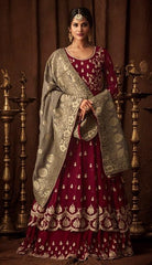 Maroon Georgette Party Wear  Anarkali Suit With Grey Dupatta