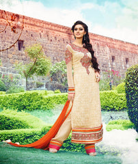 Georgette Beige Straight Salwar Suit with work