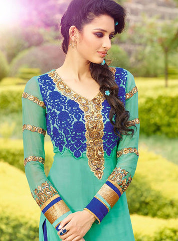 Cyan Straight Salwar Kameez with blue dupatta and bottom