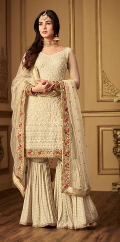 White Net Party Wear Sharara Suits With White Dupatta